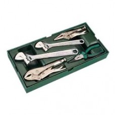 5pc adjustable wrench and pliers tray set